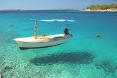 Boat in a quiet bay of Milna on Brac island, Croatia