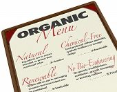 An organic menu for ordering food with ingredients that are produced organically with natural source