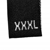 XXXL Size Clothing Label Tag, Black Fabric, Isolated On White, Detailed Macro Closeup