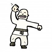 cartoon black belt karate man