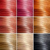Jogo de cores de cabelo. Matizes