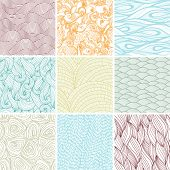 Set of nine colored wavy curly seamless textures