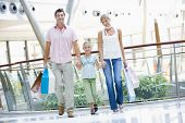 Couple With Daughter In Shopping Mall With Bags