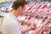 Man Choosing Meat From Shop