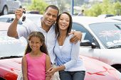 Family Sat On Car With Keys