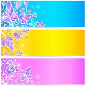 Colorful blue, yellow and violet flowers banners