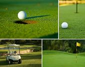 Golf, pelota de Golf, Green y combinación de Collage de carrito de Golf