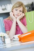 Woman Looking Fed Up After Shopping