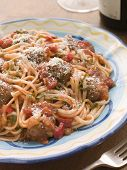 Spaghetti Meatballs In Tomato Sauce With Parmesan poster