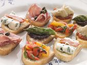 Plated Selection Of Crostini