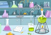 Chemical Laboratory. Cartoon Background. Vector Illustration EPS 10.