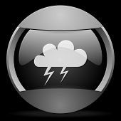 storm round gray web icon on black background