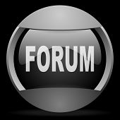 forum round gray web icon on black background