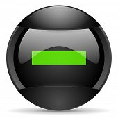 minus round black web icon on white background