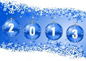 2013 new years illustration with christmas balls and snowflakes on blue background