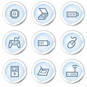 Electronics web icons set 2, light blue stickers