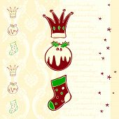 Christmas card with crown pudding and stocking