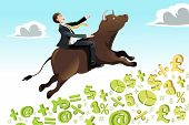 stock photo of bull-riding  - A vector illustration of a businessman riding a bull going up on a hill can be used for bull market concept - JPG