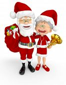 3D Santa and Mrs Claus looking happy - isolated over a white background