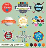 foto of miniature golf  - Collection of fun and colorful miniature golf labels and stickers - JPG