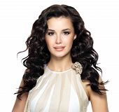 picture of voluptuous  - Beautiful brunette woman with beauty long curly hairstyle - JPG
