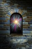Magical Vortex In A Stone Arch Doorway