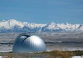 stock photo of mckenzie  - A silver observatory dome in Tekapo New Zealand - JPG
