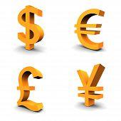 Постер, плакат: Доллар евро фунт иен