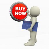 3D Man Pushing Buy Now Button