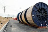 High Voltage Cable Reels And Road Construction