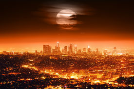 pic of doomsday  - Dramatic full moon over Los Angeles skyline at night - JPG