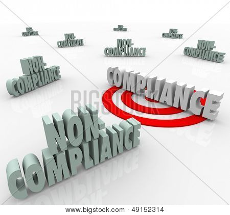 poster of The word Compliance on a targeted bulls-eye vs other words Non-Comliant to illustrate the need to follow established guidelines and comply with regulation or laws