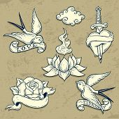 image of swallow  - Set of Old School Tattoo Elements with love symbols - JPG