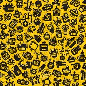 stock photo of dragon head  - Cartoon robots faces seamless pattern on yellow - JPG