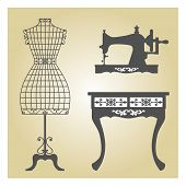 picture of wrought iron  - Vintage Mannequin and Sewing Machine - JPG
