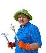 Senior Woman With Garden Tools