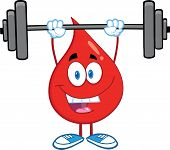 Red Blood Drop Character Lifting Weights