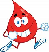 Red Blood Drop Cartoon Character Running