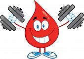 Red Blood Drop Character Training With Dumbbells