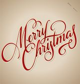 stock photo of handwriting  - MERRY CHRISTMAS hand lettering  - JPG
