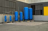 stock photo of gases  - Industrial storage tanks for liquids gases and bulk materials - JPG