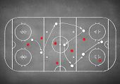 Close up image of hand drawn hockey tactic plan
