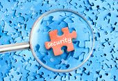 Security word on puzzle background