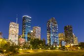Uitzicht op Downtown Houston By Night
