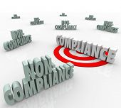 The word Compliance on a targeted bulls-eye vs other words Non-Comliant to illustrate the need to fo