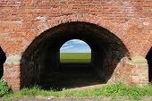 An Old Brick Arch with Blue Sky