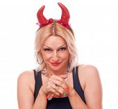 Pretty blonde with red devil horns with naughty expression, isolated on white