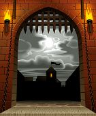 Raster version of vector image of the medieval castle gate with a drawbridge and torches against the