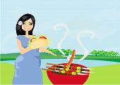 Woman Cooking On A Grill