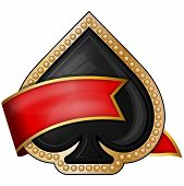 image of ace spades  - Vector illustration of spades card suit icons with ribbon - JPG